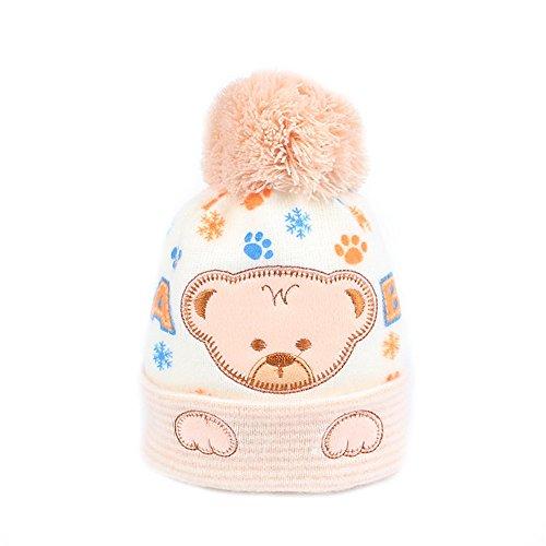 Iridescentlife Bear Baby Hat Soft Knitted Newborn Beanie Pattern Pompon (Khaki) (Knitted Beanie Hat Pattern)