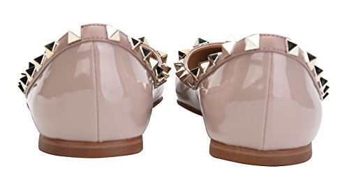 Jiu Du Vrouwen Klinknagels Bezaaid Flats Shoe Slip Op Wees Teen Trouwjurk Schoenen Abrikoos Patent Pu