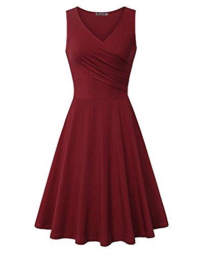 Bust Dress - KILIG Women's V Neck Sleeveless Summer Casual Elegant Midi Dress(Wine,XL)