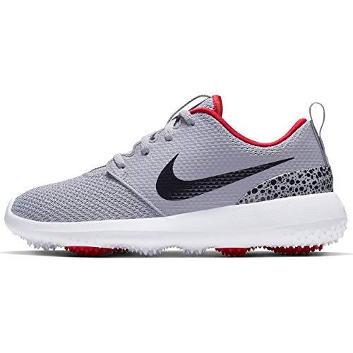 NIKE Roshe G Junior Spikeless Golf Shoes 2019 Boys Cement Gray/Black/White/University Red Medium 1Y (Best Golf Shoes For 2019)