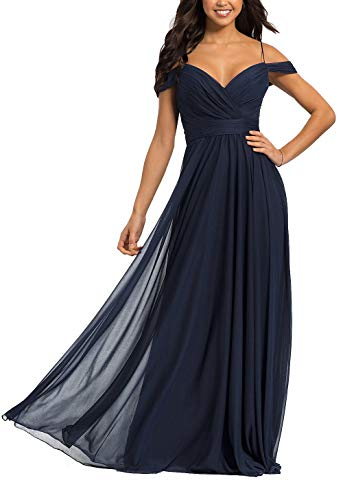a6efb49f268 Long Bridesmaid Dresses Chiffon Off Shoulder Pleated V-Neck Backless Prom  Gowns Navy Blue Size 24