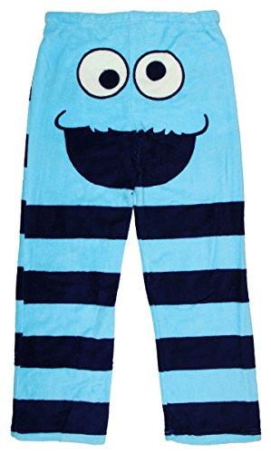 Sesame Street Women's Cookie Monster Face Plush Fleece Sleep Pants (Small, (Cookie Monster Fleece)