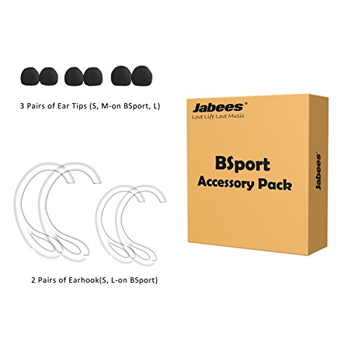 Jabees BSport Accessory Pack Including Removable Earhook Two Sizes and Silicon Earbuds Eartips Three Sizes