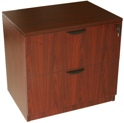 Boss Office Products N112-M 2-Drawer Lateral File in Mahogany