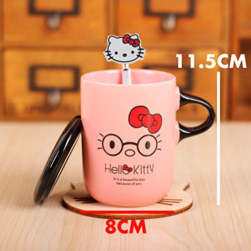 Hello Kitty Merchandise : Cute Pink Ceramic Coffee cups with lids and handle and Spoon - a Special Gift for her Series (Nerdy Kitty) -