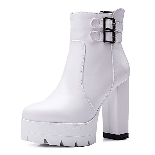 Heels Closed High Top Round Allhqfashion Solid Boots Toe Low White Women's x6q71xZwg