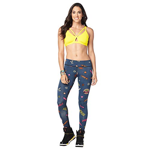 Zumba Women's High Waisted Athletic Cropped Workout Leggings, Z Denim, L