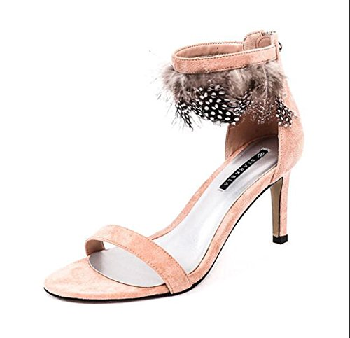 QIONGQIONG Women's Shoes Summer Feather Zipper High-Heeled Sandals Pink WUjKW5RMa