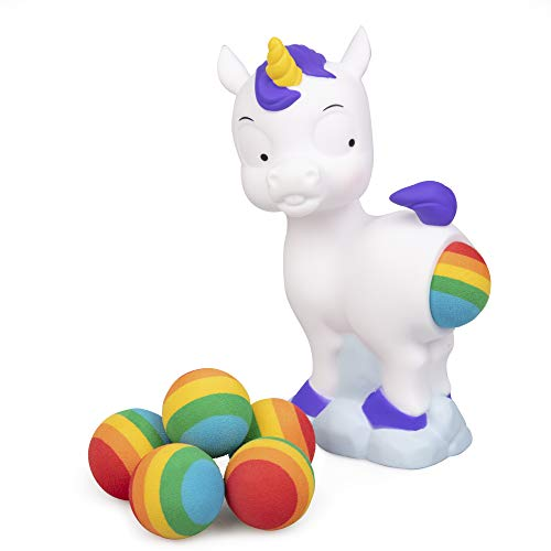 Hog Wild Pooping Unicorn Popper Toy - Shoot Foam Balls Up to 20 Feet - 6 Balls Included - Age 4+