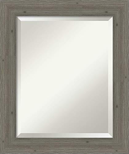 Amanti Art Framed Fencepost Grey Narrow Solid Wood Wall Mirrors, Glass Size 16×20,
