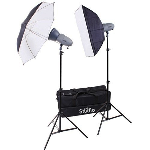 (RPS Studio RS-SR300DK 600 Watt/Second Portable 2 Monolite Lighting Kit with 2 Strobes & Reflectors, 1 Softbox, 1 Umbrella, 2 Stands, Infrared Trigger &)
