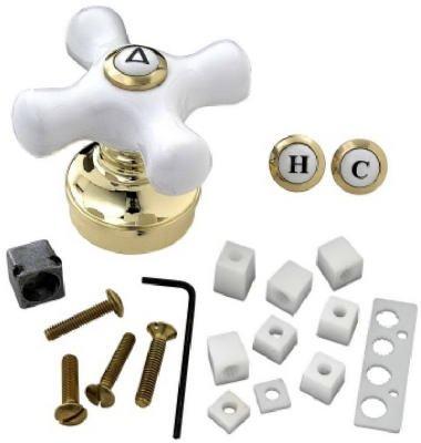 (BrassCraft SH5740 Handle PB CROSS DESIGN FAUCET HNDL WHITE TIP)