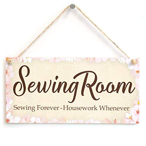 Room Decor Sewing Pattern - Wini2342ckey Sewing Room Sewing Forever - Housework Whenever - Cute Sewing Gift Idea Sign/Plaque for Sewing Room Wall