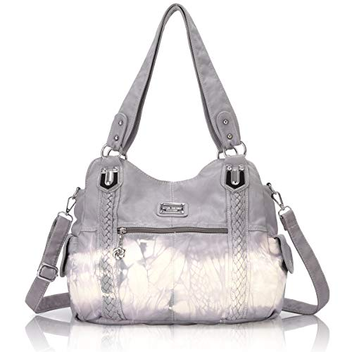 Angel Barcelo Roomy Fashion Hobo Womens Handbags Ladies Purse Satchel Shoulder Bags Tote Washed Leather Bag Light Grey