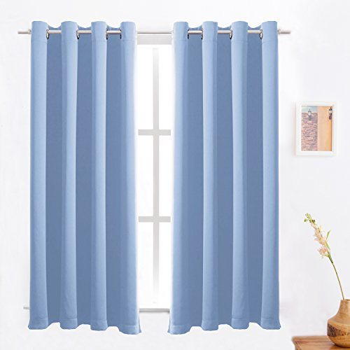 Blackout Curtains /Room Darkening/Light Blocking/Thermal Insulated Draperies With Solid Grommet for Bedroom/Living Room Window Treatments Cornflower Blue 2 Panels , 52 x 63 Inch By - Blue 52