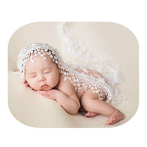 Luxury Newborn Boy Girl Baby Photography Props Wrap Lace Yarn Cloth Blanket (White)