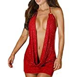 ❤️Kiorc❤️Fashion Women Red Simple Jumpsuits Sexy Charming Lingerie Sleep Dress Pajamas (M, Red)