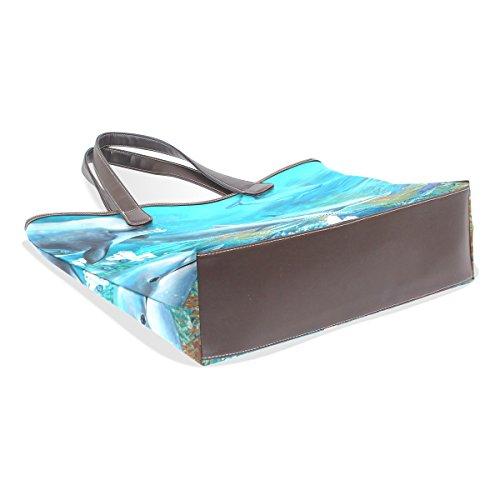 Borse Elaborazione I Subacquea Maniglia A Delfini Large Coosun M Cuoio Multicolor Bag Cm 002 Della Tote 40x29x9 Dell'unità Di Spalla 0Ppqxd