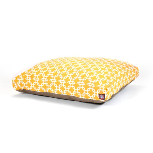 Yellow Links Large Rectangle Indoor Outdoor Pet Dog Bed With