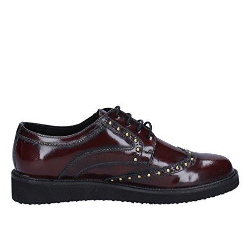 40 Leahter Shoe Oxford EU Womens Shiny Braccialini Burgundy WHtSgc11