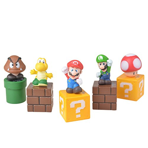 Super Mario Bros Action Figure 5PCS Set Cake Topper PVC Game Toy Kid Gift Doll (Ladybug Arcade Game)