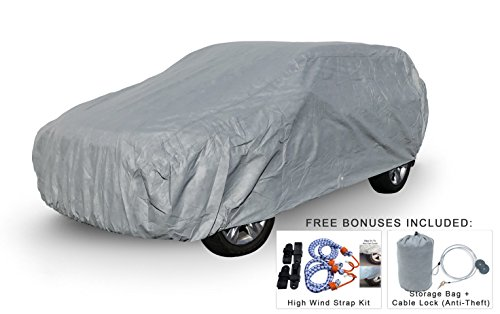 Weatherproof Car Covers For Chevrolet Suburban 1992-1999 - 5L Outdoor & Indoor - Protect From Rain, Snow, Hail, UV Rays, Sun & More - Fleece Lining - Includes Anti-Theft Cable - Suburban Chevrolet A/c 1992