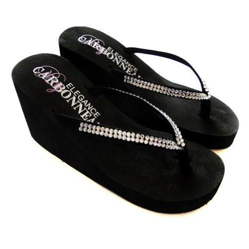 afbb2994a5bd0 Elegance by Carbonneau CRYSTALS Women s High Heel Flip Flop Black Foam  Rubber Sandal low-cost