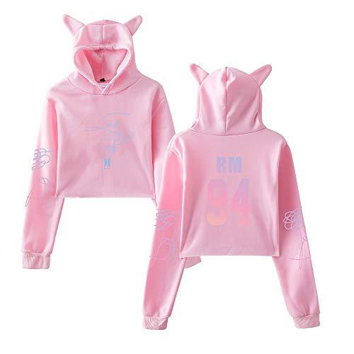 Besthoo Cute Orecchie Love Hoodie Boys Yourself Donna Sweatshirt Jin Con Gatto Pink4 Pullover Cropped Felpe Bangtan Di Cappuccio Bts Moda BOpWnxSp