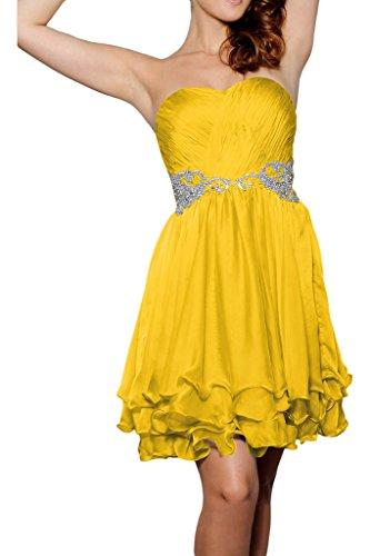 party da sera cuore a pietre Prom vestito abito Sweetheart breve ivyd donna Oro ressing scollo festa cintura abito vnw1qxSpg