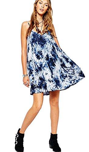 Girls Casual Dress Slip (Gamery Women's Tie Dye Backless Club Spaghetti Strap Dress Blue L)