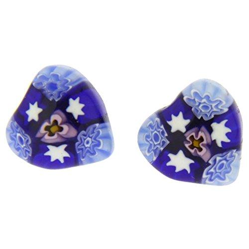 - GlassOfVenice Murano Glass Millefiori Heart Stud Earrings