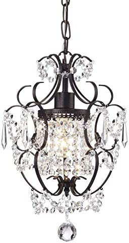 Edvivi Amorette 1-Light Antique Bronze Finish Mini Pendant Chandelier Wrought Iron Ceiling Fixture