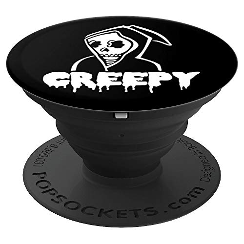 Grim Reaper Creepy Skull Horror Goth Psychobilly Halloween - PopSockets Grip and Stand for Phones and Tablets]()