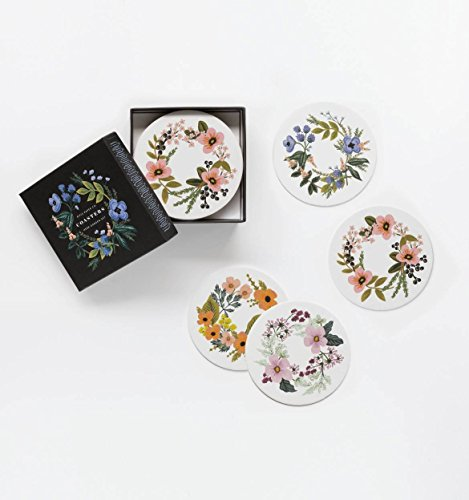 Herb Garden Set by Rifle Paper Co. -- Set of 8 Coasters in 4 Designs
