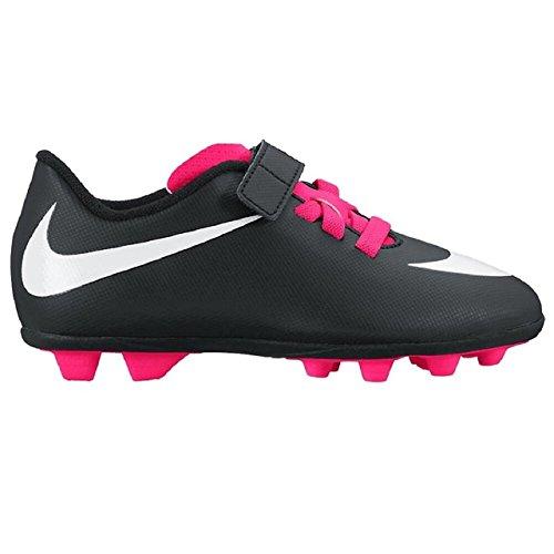 Nike Junior Bravata (V) (FG-R) Kids Firm-Ground Soccer Cleats (10 TODDLER M , BLACK/WHITE/PINK) (Kids Soccer Socks Nike)