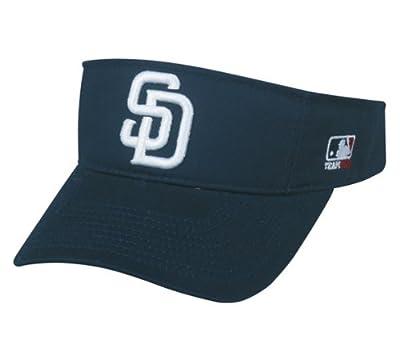 MLB ADULT San Diego PADRES Home Navy Blue VISOR Adjustable Velcro TWILL