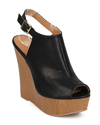 Qupid EF09 Women Leatherette Peep Toe Slingback Mule Wedge Sandal - Black