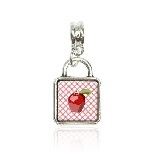 Apple Euro European Italian Style Bracelet Bead Sqr Charm