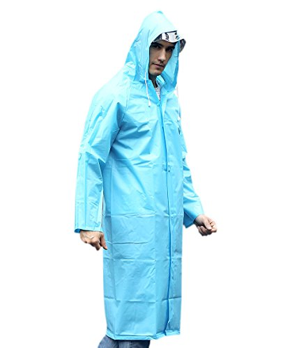 AIRCEE Lightweight Rain Cape Hooded Jacket Poncho Raincoat With Visor (XL, Blue) (Xl Cape)
