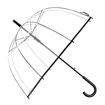 Remedios Automatic Open Transparent Clear Bubble Dome Umbrella with Black Trim