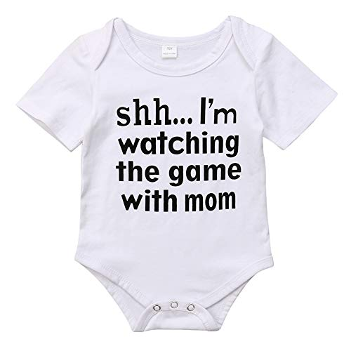 Newborn Infant Babys Short Sleeve I'm Watching The Game with Dad Bodysuit Romper Outfits (3-6 Months, White 2) ()