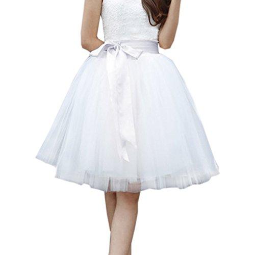 EllieHouse Womens Short Tutu Tulle Skirt with Sash White Size 3XL PC06