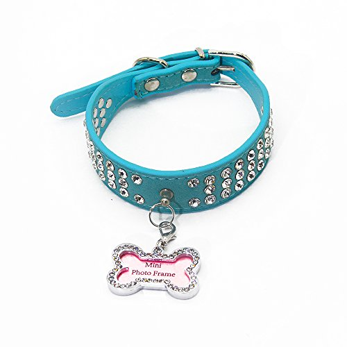 BBDOGO Puppy Dog Collars Necklaces and Tag With Bling Crystal Girl Boy Dog Collars(CW006) (Blue) (Dog Tag Pink Necklace)