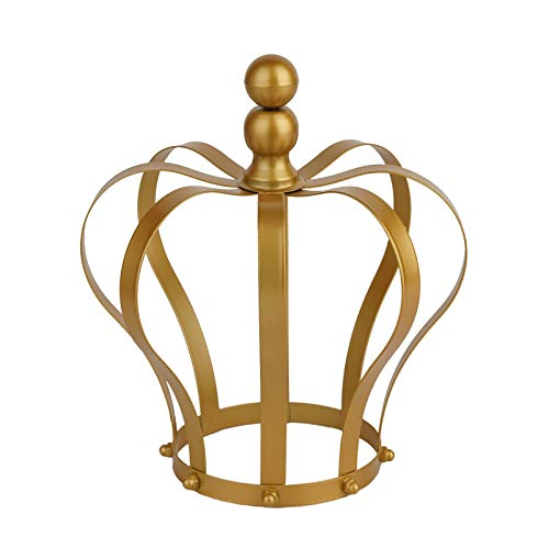 BalsaCircle 9-Inch tall Gold Metal Crown Cake Topper - Princess Knight Prince Kids Birthday Party Wedding Centerpiece -
