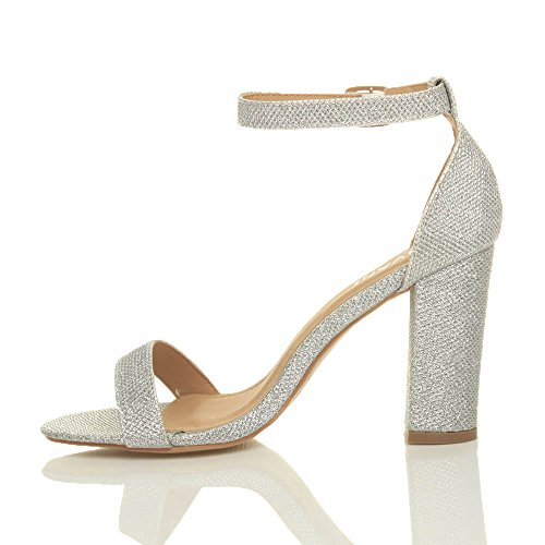 Women Silver Heel Strappy Shimmer Glitter Block Sandals High Size Ajvani dqBUd
