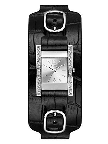 (GUESS  Square Black Genuine Leather Crystal Cuff Watch. Color: Black (Model: U1136L2))