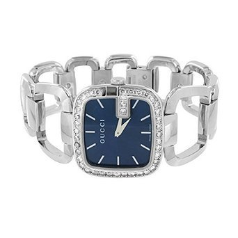 G Gucci Ladies Watch 2 Carat Diamond Bezel Blue Dial Stainless Steel Swiss Made
