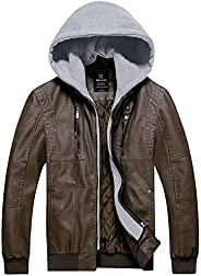Wantdo Men's Faux Leather Jacket PU Outwear with Removable
