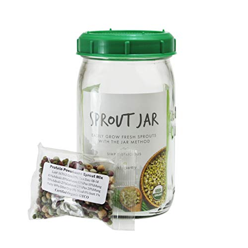 Handy Pantry Complete Sprouting Jar Lid Kit With Seeds | Includes Wide Mouth Quart Mason Jar, BPA Free Sprouting Strainer Lid, And Organic Sprouting Seeds