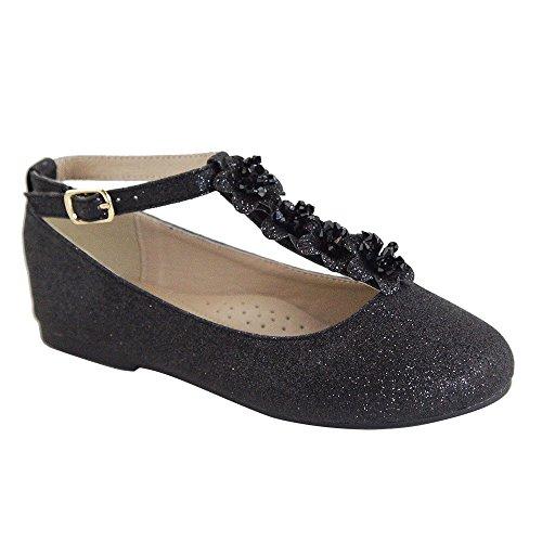ShoBeautiful Toddler Little Girls Dress Ballet Girls Toddler/Little Kid/Big Kid T-Strap Mary Jane Bow Flat Shoes SC307K Black 11 ()